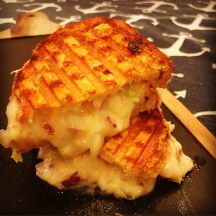This tasty onion cheese buttery sandwich takes just about 6 minutes to cook. This was made in the kitchen in South Carolina with a Breville panini press.