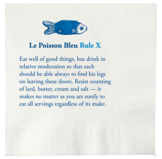 Cocktail napkins with one of the house rules...